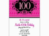 100 Birthday Invitation Wording Milestone 100th Pink Floral Birthday Invitations Paperstyle