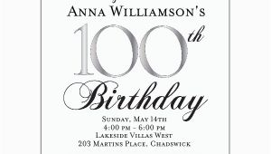 100th Birthday Invitation Wording