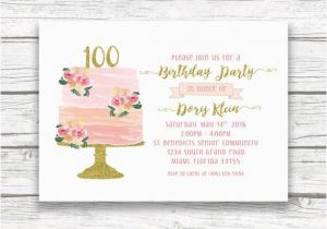 100th Birthday Invitations Ideas Invitation Cake
