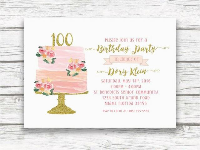 Download By SizeHandphone Tablet Desktop Original Size Back To 100th Birthday Invitations Ideas