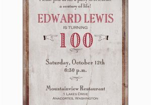 100th Birthday Invitations Ideas Old World Paperstyle BirthdayBuzz