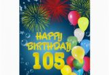 105th Birthday Card 105th Birthday Card with Fireworks and Balloons Zazzle
