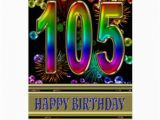 105th Birthday Card 105th Birthday with Rainbow Bubbles and Fireworks Card