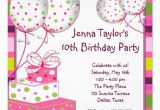 10th Birthday Invitation Quotes 10th Birthday Party Invitation Wording Cimvitation