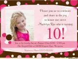 10th Birthday Invitation Quotes 10th Birthday Party Invitation Wording Dolanpedia