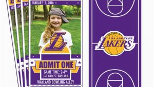 12 Los Angeles Lakers Birthday Ticket Invitations Invitations 12 Los Angeles Lakers Custom Birthday Party Ticket Invitations