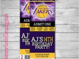 12 Los Angeles Lakers Birthday Ticket Invitations Invitations 25 Best Ideas About Basketball Tickets On Pinterest