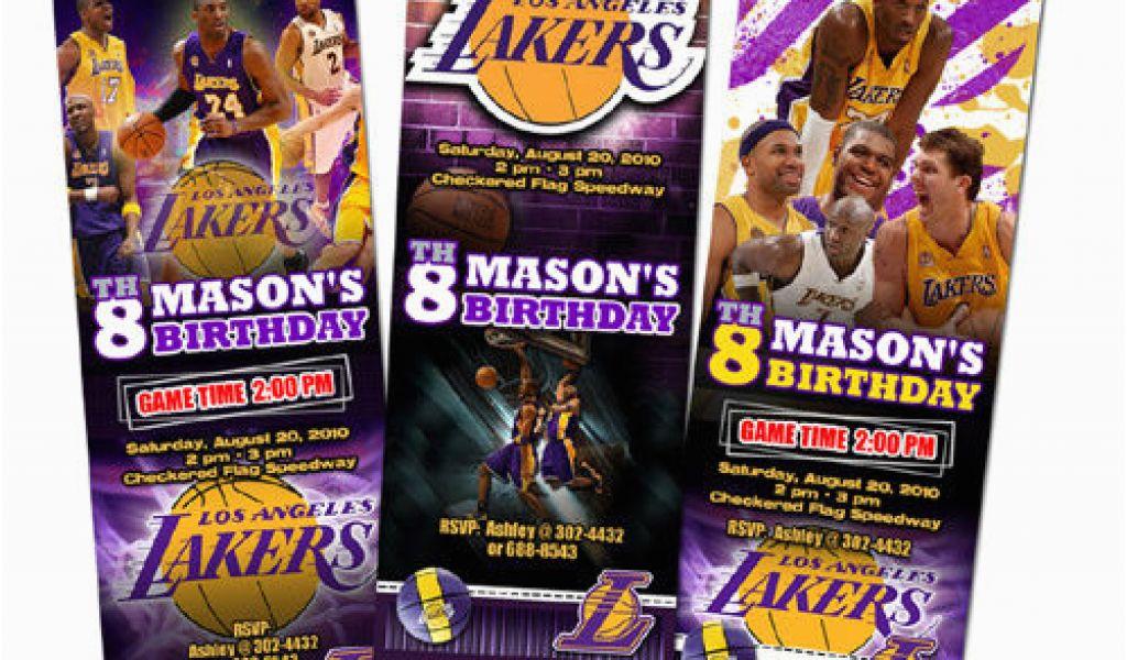 12 Los Angeles Lakers Birthday Ticket Invitations La