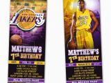 12 Los Angeles Lakers Birthday Ticket Invitations Invitations La Lakers Ticket Birthday Party Invitations Printable