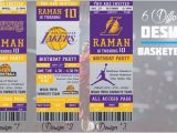 12 Los Angeles Lakers Birthday Ticket Invitations Invitations Los Angeles Lakers Birthday Invitation Basketball by