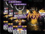 12 Los Angeles Lakers Birthday Ticket Invitations Invitations Sports Invites Los Angeles Lakers Sports Ticket Style
