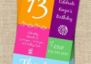 13 Year Old Birthday Party Invitations 13th Free Invitation Ideas