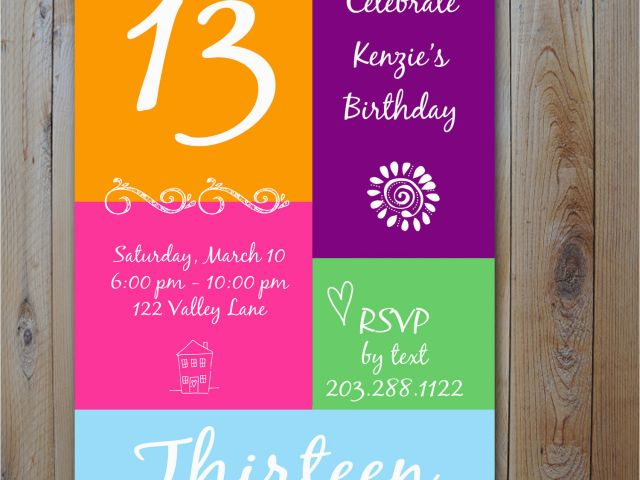 Download By SizeHandphone Tablet Desktop Original Size Back To 13 Year Old Birthday Party Invitations