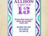 13 Year Old Birthday Party Invitations Girl 13th Birthday Party Invitation Purple Aqua by