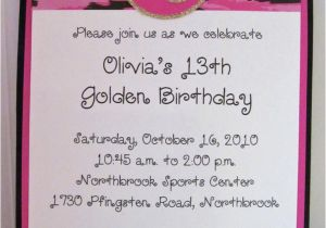 13 Year Old Birthday Party Invitations Golden Invitation For Girl