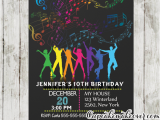 13th Birthday Dance Party Invitations Dance Party Birthday Invitations Rainbow Music Notes