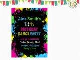 13th Birthday Dance Party Invitations Paint Splatter Birthday Party Paint Splatter by Hdinvitations