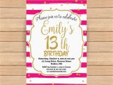 13th Birthday Invitation Wording 13th Birthday Invitation Thirteenth Birthday Gold Glitter