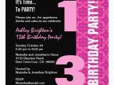 13th Birthday Invitation Wording Samples 13th Birthday Invitation Template