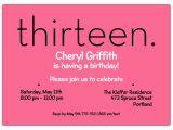 13th Birthday Invitation Wording Samples Thirteen Pink 13th Birthday Invitations Paperstyle