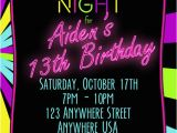 13th Birthday Invitations Boy Neon 13th Birthday Invitation Glow Party Invitation Any
