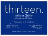 13th Birthday Invitations Boy Thirteen Blue 13th Birthday Invitations Paperstyle