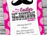 13th Birthday Invites Mustache Bash Zebra Print Invitation 13th Birthday Party