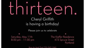 13th Birthday Invites Thirteen Pink On Black 13th Birthday Invitations Paperstyle
