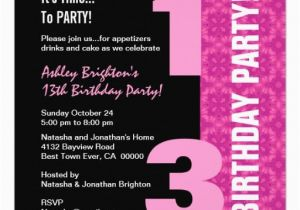 13th Birthday Party Invitation Wording Template