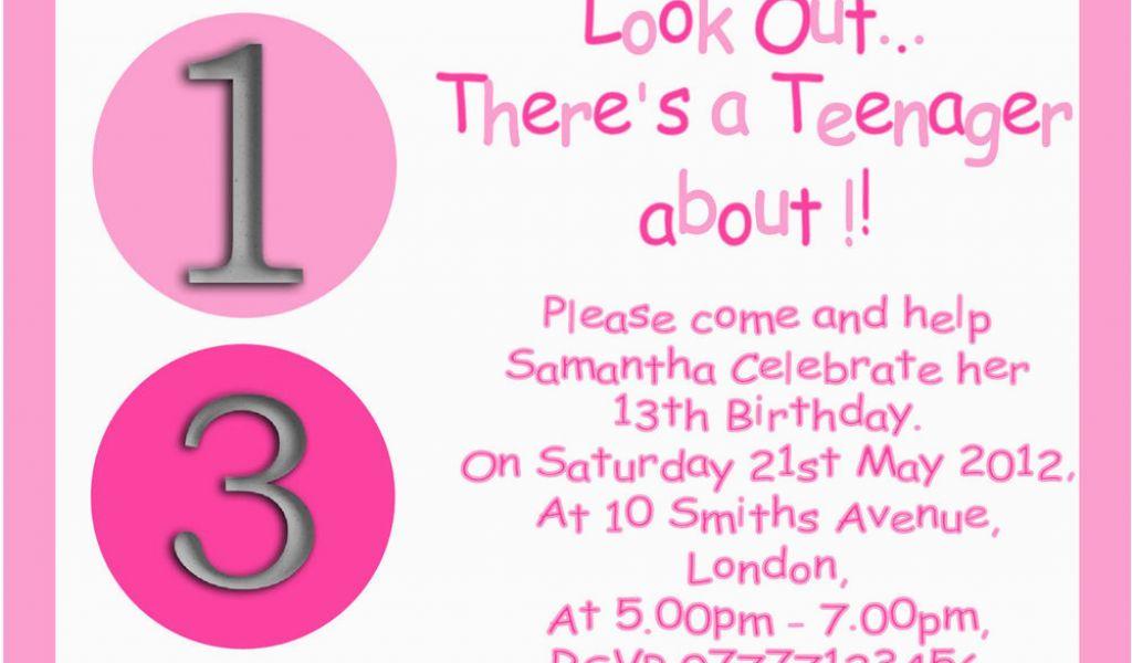 13th Birthday Party Invitation Wording Personalised Boys Girls