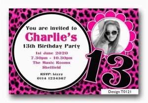 13th Birthday Party Invitation Wording Personalised Boys Girls Teenager