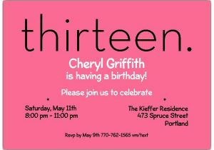 13th Birthday Party Invitation Wording Thirteen Pink Invitations Paperstyle
