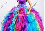 15 Year Old Birthday Dresses 2014 organza Sweetheart Diamonds Ruffled Colored Rainbow