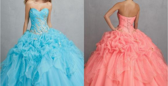 15 Year Old Birthday Dresses New 2015 Coral Ball Gown Sexy Backless Quinceanera Dresses