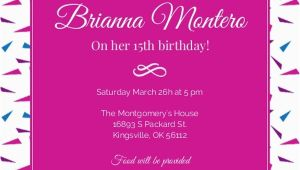 15th Birthday Invitation Wording Hot Pink 15th Birthday Invitation Birthday Party