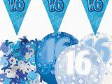 16 Birthday Decorations for Boy Blue Silver Glitz 16th Birthday Flag Banner Party