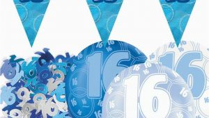 16 Birthday Decorations for Boy Blue Silver Glitz 16th Birthday Flag Banner Party