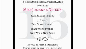 16 Birthday Invitation Wording Classic Pink Sweet 16 Birthday Invitations Paperstyle