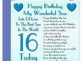 16th Birthday Cards for son My Wonderful son Lots Of Love Happy Birthday Card Age