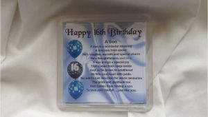 16th Birthday Cards for son Personalised Coaster son Poem 16th Birthday Design