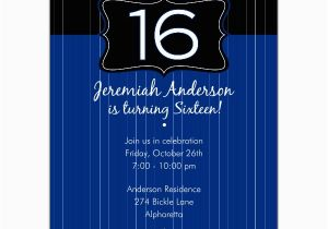 16th Birthday Invitation Wording Black Emblem Blue Invitations Paperstyle
