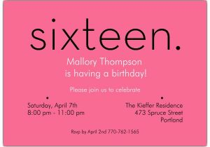 16th Birthday Invitation Wording Sixteen Pink Invitations Paperstyle