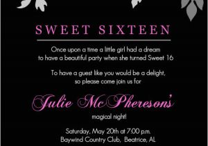 16th Birthday Invitation Wording Sweet Invitations Templates Free Printable