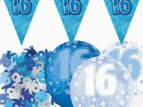 16th Birthday Party Decorations for Boys Blue Silver Glitz 16th Birthday Flag Banner Party