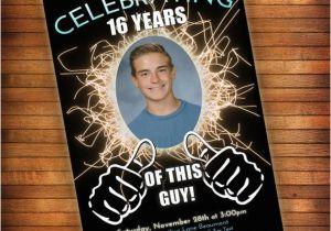 16th Birthday Party Invitations Boy Invitation Thumbs Up Celebrating This Guy
