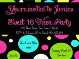 16th Birthday Party Invitations Templates Free Neon Sweet 16 Birthday Invitation Template 4×6