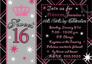 16th Birthday Party Invitations Templates Free Sweet