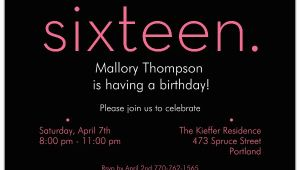 16th Birthday Party Invites Sixteen Pink On Black 16th Birthday Invitations Paperstyle