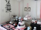 16th Birthday Table Decorations the Grape Vine events Black White and Pink Buffet Table