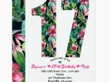 17th Birthday Party Invitations Tropical Floral 17 17th Birthday Party Invitation Zazzle Com